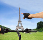 Paris in bicycle Royalty Free Stock Photography