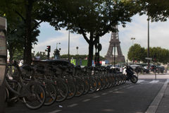 Paris. Bikes on the streets. Stock Images
