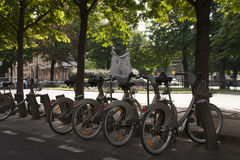 Paris. Bikes on the streets. Royalty Free Stock Photo