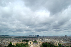 Paris, a bird's-eye view. A bird's-eye view of Paris city in a cloudy day, shot at Eiffel Tower Royalty Free Stock Image