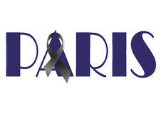 Paris black ribbon. Paris with a black ribbon for terrorist attack Stock Image