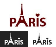 Paris. Black and white decorative lettering. Tower Eiffel with Paris lettering Stock Images