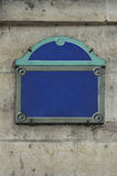 Paris blank street sign on stone wall Royalty Free Stock Photo