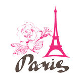 Paris-Blumenrosa stock abbildung