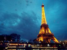Paris at the boat. City of love at night Stock Photography