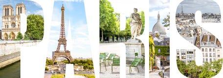 Paris bokstäver fyllde med bilder från den Paris staden Arkivbild