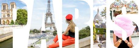 Paris bokstäver fyllde med bilder från den Paris staden Royaltyfri Fotografi