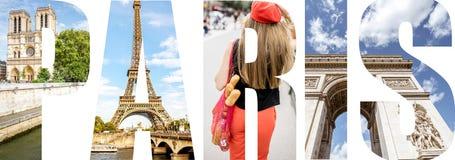 Paris bokstäver fyllde med bilder från den Paris staden Royaltyfri Foto