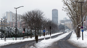 Snow on Paris beltway Stock Images