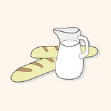 Paris bread and milk theme elements vector,eps. Vector illustration file Royalty Free Stock Images