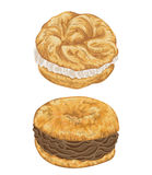Paris brest cakes with praline and chocolate cream. French pastries in watercolor style Royalty Free Stock Image
