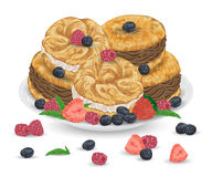 Paris brest cakes with praline and chocolate cream on plate with berries. French pastries with strawberry, raspberry, blueberry an. D mint leaves. elements. Hand stock illustration