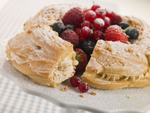 Paris Brest with Mixed Berries and Hazelnuts Stock Photography