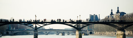 Paris bridge. Panoramic view of a bridge over Seine, in Paris Royalty Free Stock Photography