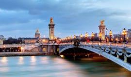 Paris bridge Alexandre 3, III and Seine river Stock Images