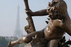 Paris Bridge Decoration Detail and Eiffel Stock Images