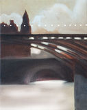 Paris bridge in morning light oil. Painting in brown colors and light earthy yellow Stock Photos