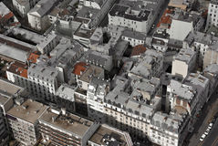 Paris buildings from above. Aerial perspective shot of Paris buildings, shot from the Eiffel Tower stock images