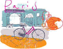 Paris Cafe. Hand drawn illustration of a street cafe in a parisian street Stock Image