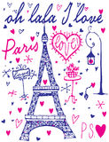 Paris calligraphy - set of hand-lettered design elements Royalty Free Stock Images