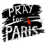 Paris and candle for a prayer. Phrase Pray for Paris, with a candle for a prayer in the form of letters I with red flame  black background, symbolizing the smoke Royalty Free Stock Photos