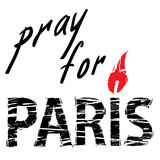 Paris and candle for a prayer. Phrase Pray for Paris, with a candle for a prayer in the form of letters I with red flame and black letters Stock Photography