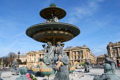 Concorde fountain in Paris capital and the most populous city of France. Paris capital and the most populous city of France and concorde fountain royalty free stock photos