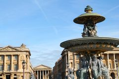 Concorde fountain in Paris capital and the most populous city of France. Paris capital and the most populous city of France and concorde fountain royalty free stock image