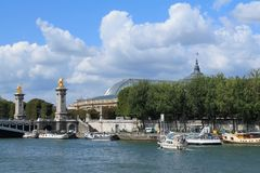 Paris capital and the most populous city of France. And seine river royalty free stock photos