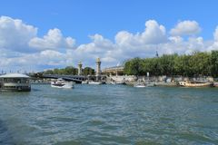 Paris capital and the most populous city of France. And seine river royalty free stock photo