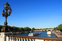 River boat in Paris capital and the most populous city of France. Paris capital and the most populous city of France and seine river stock photo