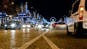 Paris, car traffic, Avenue des Champs-Elysees, stock video