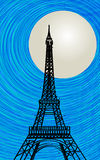 Paris card. Romantic background with stylized Eiffel tower silhouette in the moonlight Stock Photos