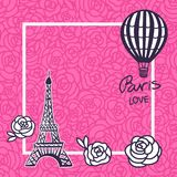 Vector Paris card. Eiffel Tower and Balloon hand drawing. Pink design for girls. stock illustration
