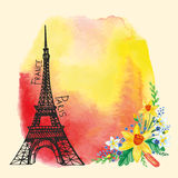 Paris card.Eiffel tower,Watercolor stain,Narcissus. Spring Paris  Card.Eiffel tower,watercolor Narcissus bouquet,stain,flowers.Hand drawn doodle sketchy Royalty Free Stock Photography