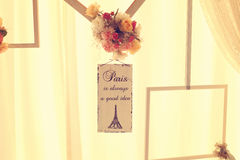 Paris card wedding decor Stock Image