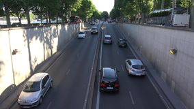 Paris Cars Traffic in Tunnel, Subway, People Traveling in France Timelapse stock video