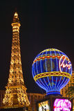 Paris Casino Balloon and Eiffel Tower neon lights, Las Vegas, NV Stock Images
