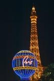 Paris Casino Balloon and Eiffel Tower neon lights, Las Vegas, NV Royalty Free Stock Image
