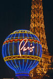 Paris Casino Balloon and Eiffel Tower neon lights, Las Vegas, NV Stock Photography