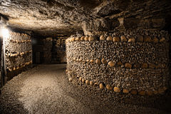 Paris-Catacombs-Dead-6. The Realm of the Dead, the Catacombs of Paris or Catacombes de Paris are underground ossuaries in Paris, France. Halls and caverns of Royalty Free Stock Photo