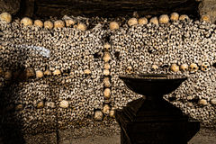 Paris-Catacombs-Dead-9. The Realm of the Dead, the Catacombs of Paris or Catacombes de Paris are underground ossuaries in Paris, France. Halls and caverns of Royalty Free Stock Image