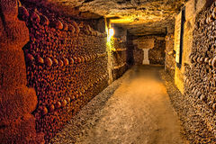 Paris-Catacombs-Dead-2. The Realm of the Dead, the Catacombs of Paris or Catacombes de Paris are underground ossuaries in Paris, France. Halls and caverns of Stock Photography