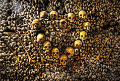 Paris-Catacombs-Dead-1. The Realm of the Dead, the Catacombs of Paris or Catacombes de Paris are underground ossuaries in Paris, France. Halls and caverns of Stock Photography