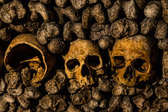 Paris-Catacombs-Dead-4. The Realm of the Dead, the Catacombs of Paris or Catacombes de Paris are underground ossuaries in Paris, France. Halls and caverns of Royalty Free Stock Photo