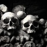Paris Catacombs. Skulls from the Catacombs of Paris in black and white Stock Photography