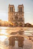 Paris, catedral de Notre Dame com reflexão na água contra o nascer do sol em França Fotos de Stock
