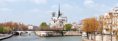 Paris Cathedral Notre Dame Panorama Royalty Free Stock Photos