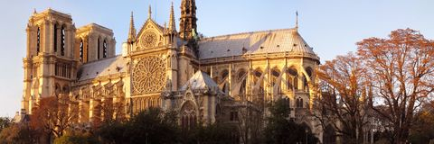Paris cathedral at sunset Royalty Free Stock Images