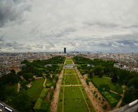 Paris center aerial view at day time, wide angle of view Stock Photos